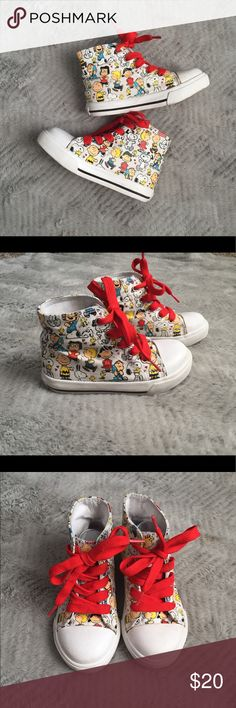 PEANUTS high tops Unisex Nearly New Condition. No stains, Tiniest bit of dirt on the bottom sides, and soles otherwise no other visible wear. Shoes Sneakers