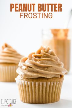 If you love peanut butter, this peanut butter frosting is for you! It has a strong peanut butter flavor and, like a classic buttercream frosting recipe, it pipes perfectly onto cupcakes and cakes. Frost Cupcakes, Cupcakes Amor, Ladybug Cupcakes, Kitty Cupcakes, Snowman Cupcakes, Princess Cupcakes, Homemade Frosting, Frosting Recipes, Cupcake Recipes