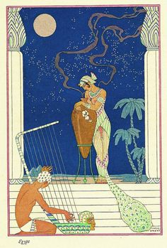 George Barbier Art Deco Print. 'The Romance of Perfume'. Egyptian Revival Style.