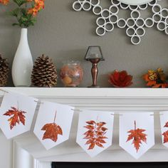 So stunning, but so easy to make! Help kids learn how to make leaf prints and turn their art into an Easy Autumn Banner | AllFreeKidsCrafts.com
