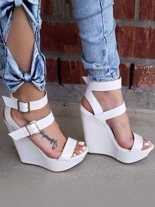 b330918e8a51 White Wedge Sandals Women Shoes Open Toe Platform Open Toe Buckle Detail Sandal  Shoes. White Wedge HeelsWhite WedgesShoes HeelsHigh ...