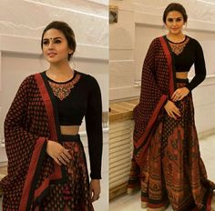 Earth brown partten on lehenga and black full sleeves top and finally beautiful Huma Qureshi ! Just Amazing💝💝💝💝 Indian Attire, Indian Wear, Indian Dresses, Indian Outfits, Indian Clothes, Black Blouse Designs, Chaniya Choli Designer, Navratri Dress, Bridal Lehenga Collection