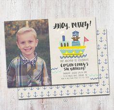 Printable DIY Pirate Anchor Birthday Invitation : by deanworks