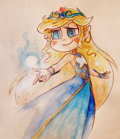 "kotilokiki: ""I love disney-n-stuff's dress design (and AU-idea) of moon elf princess Star so I drew a fan art of it (ノ ❛ ◡ ❛ )ノ *:・゚✧ Had to take a picture so the glitter watercolour can actually sparkle. "" I want to write legend of zelda star..."