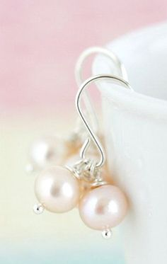 Dreamy Pink Pearl Earrings Pink Freshwater