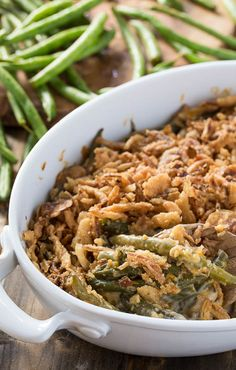 Cheesy Green Bean Casserole with a fried onion topping. Going to try ...