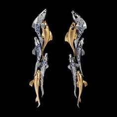 Mousson Atelier, collection Eden - Fish, earrings, White gold 750, Yellow gold 750, Sapphires
