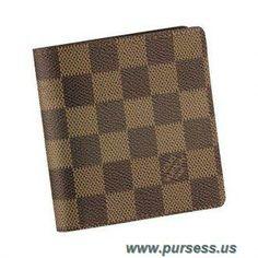 New Women Louis Vuitton Damier Ebene Canvas Billfold With 6 Credit Card Slots Brown N61666