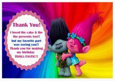 Trolls Holiday Thank you Cards – Birthday Printable