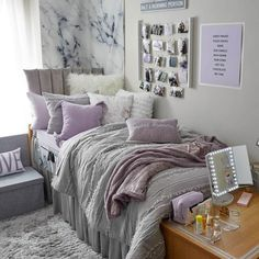 Teen Girl Bedrooms, witty room design, make-over ref 6664764015 Purple Dorm, Room, Room Ideas Bedroom, Dorm Room Inspiration, Purple Dorm Rooms, Cushion Headboard, Dorm Rooms, Room Decor, Dorm Room Designs