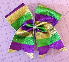Mardi gras Bow by ThePoofBows on Etsy, $10.50