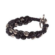 TOBIAS WISTISEN skull braided bracelet ($465) ❤ liked on Polyvore featuring jewelry, bracelets, macrame bracelet, skull jewellery, black and silver jewelry, wood jewelry and skull bangle