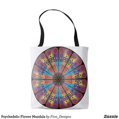 Our Mandala tote bags are great for carrying around your school & office work, or other shopping purchases. Flower Mandala, Colorful Flowers, Psychedelic, Reusable Tote Bags, Products, Trippy, Gadget