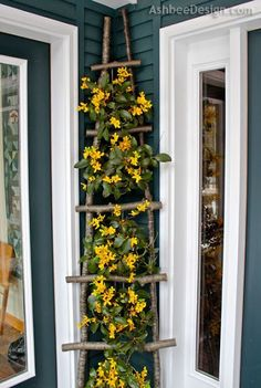 diy branch ladder for climbing vines or hanging small pots of flowers and plants #gardendesign