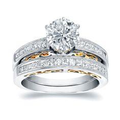 Auriya 14k Two Tone Gold 1 3/4ct TDW Certified Round Cut Diamond Bridal Ring Set