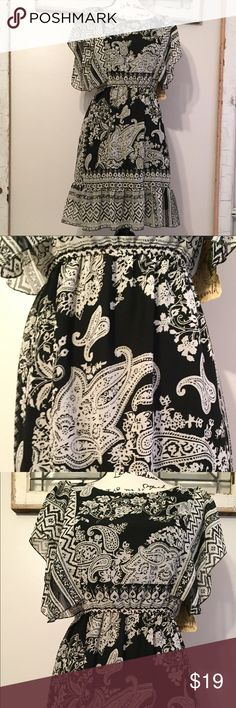 "One World Paisley Dress NWT One World dress. Sheer black and white paisley and floral pattern overlay. Fully lined, flutter sleeves, elastic waist and ruffle hem. Fun and light weight. 100% Polyester. Measurements laying flat. --  16"" bust. --  14"" waist un stretched.  --  36"" shoulder to hem One World Dresses"