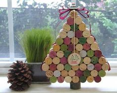 Árvores de Natal com rolhas de cortiça