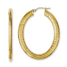 Stainless Steel Yellow Ion-plated Textured Hollow Oval Hoop Earrings SRE661