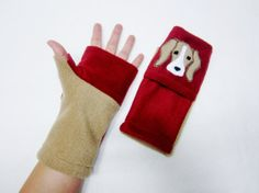 Beagle Fingerless Gloves with Pockets for Dog Lovers. by BZfingers