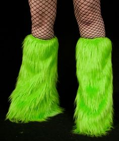 NEON GREEN Furry Leg Warmers by DelightfullyDeviant on Etsy, $29.00