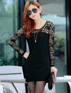 Charming Long Sleeve Slim Fit Dress with Lace Panel