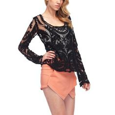 LACEY | Black Lace Long Sleeve Top $29.95 #black #lacetops #longsleevetops #fashion