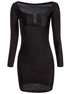 Sexy Square Neck Long Sleeve Low Cut Solid Color Women's Dress | NastyDress.com