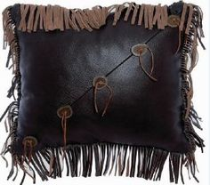 Western Leather Pillow with Fringe