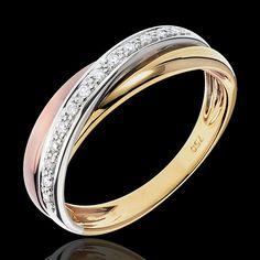 Alliance anneau 3 ors Trifolie - 13 diamants (Bagues) : bijoux edenly