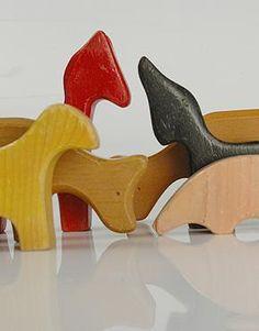 Antonio Vitali Vintage Carved Wooden Farn Animal Toys :: Quintessentia