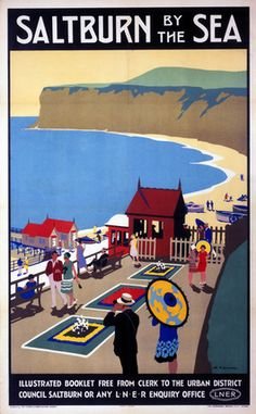 Saltburn by the Sea, Yorkshire. Vintage LNER Railway Travel poster by Henry George Gawthorn. Posters Uk, Train Posters, Railway Posters, Art Deco Posters, Poster Ads, Advertising Poster, Vintage Travel Posters, Vintage Ads, Abstract Posters