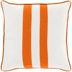 18' Carrot Orange and Cream White Two Warm Stripes Decorative Throw Pillow-Down Filler -- Visit the image link more details. (This is an affiliate link) #ModernHomeDecor