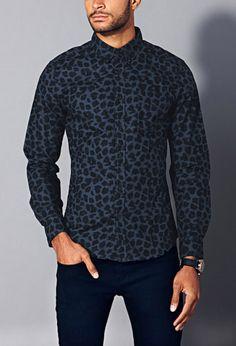Slim Fit Leopard Print Shirt   21 MEN - 2000129493