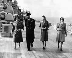 King George VI and Queen (now Queen Mother) on the deck of HMS Vanguard with their children Princesses Elizabeth and Margaret in 1947