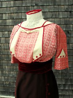 """The 1912 fancy silk blouse.  This was such a stunning design when completed.  Often it's hard to visualize from a 100-year old B&W sketch how beautiful a garment will be in full colour.  This one certainly didn't disappoint.  The 1912 text described it as being made of """"raspberry-coloured jacquard silk"""" and I fortunately had a very similar silk available to work with.  My 'Edwardian Rose' pattern is available, both on eBay and Etsy (in digital format)."""