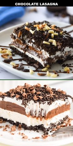 This cool creamy chocolate lasagna recipe is the ultimate homemade dessert sweet and delicious youll be in love! The chocolate Oreo cookie crust creates the perfect base for the sweet layers of delicious pudding cream cheese and Cool Whip that come next. No Bake Oreo Dessert, Smores Dessert, Oreo Dessert Recipes, Bon Dessert, Summer Dessert Recipes, Homemade Desserts, Easy Cake Recipes, Easy Desserts, Cookie Recipes
