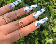 Custom Press On Acrylic Nails Set of 10 any Size & Shape | Etsy Acrylic Nail Set, Acrylic Nails Coffin Short, Cute Acrylic Nail Designs, Blue Acrylic Nails, Simple Acrylic Nails, Edgy Nails, Grunge Nails, Stylish Nails, Blush Pink Nails