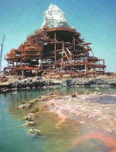 Disneyland's Matterhorn Bobsleds rollercoaster ride under construction, as seen from the Submarine Lagoon, circa early 1959 - Trend Parks Disney 2020 Old Disney, Disney Fun, Disney Parks, Disney Rides, Disneyland Rides, Punk Disney, Disney Stuff, Disney Movies, Disney Characters