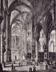Black and white drawing by J. Coney of the interior of Church of St. Martin, formerly the Cathedral, destroyed in WWI.