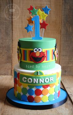 Sesame St themed Cake for a 1st Birthday - iced by kez #sesamest #1stbirthday #cake