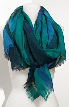 Burberry Linen Blend Check Scarf available at Nordstrom Checked Scarf, Soft Autumn, Teal, Turquoise, Fasion, Plaid Scarf, Burberry, Scarves, Nordstrom