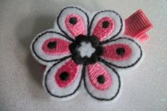 Boutique  Embroidered Felt Flower Hair Clippie by pachwilliamson, $3.00