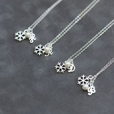 Bridesmaid Jewelry Set of 5 Winter Wedding Snowflake Necklace Pearl Snowflake Jewelry Sterling Silver Initial Necklace Bridesmaid Jewelry Sets, Bridesmaid Gifts, Wedding Jewelry, Bridesmaid Necklaces, Bridal Jewellery, Jewellery Box, Sterling Silver Initial Necklace, Initial Jewelry, Snowflake Jewelry