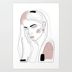 In Blush Art Prints - room decor - Caricature Unique Drawings, Art Drawings, Poster Drawing, Abstract Line Art, Minimalist Art, Aesthetic Art, Line Drawing, Art Inspo, Art Sketches