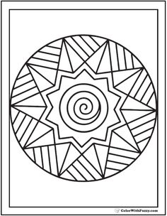 Printable Adult Coloring Pages: Simple Sunburst