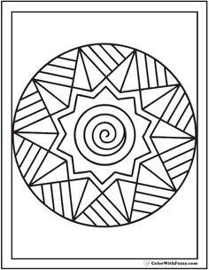 Printable Adult Coloring Pages: Simple Sunburst