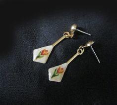 Small Dangle Earrings - Vintage 80s Unusual Tulip Dangles for Spring - Postback - Original Card by LunaJunctionVintage on Etsy