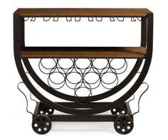 Industrial Wine Bar Cart Rolling Table Rustic Wood Rack Metal On Wheel Island  #WineRack #Vintageindustrialdesign