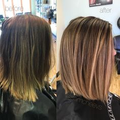 2017 fall fashion hair trends / dark chocolate chestnut brown medium long bob with natural neutral beige warm golden honey balayage highlights and hairstyles