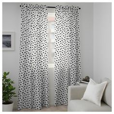 You can choose classic with black and white or add a bit of bling to your room with sparkling gold – either way, this playful dot pattern is easy to mix with other patterns, stripes or solids in our range. Black White Curtains, Black White Bedrooms, Playroom Curtains, Polka Dot Curtains, Sewing Curtains, Recycling Facility, Ikea Design, Black And White Baby, Custom Drapes